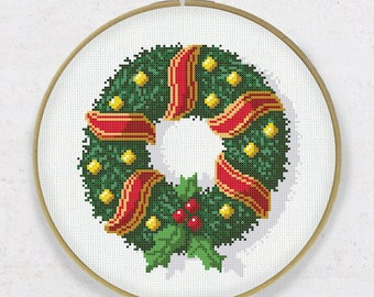 Christmas Crown Cross Stitch PDF Pattern Instant Download Wreath Wall Art Decoration Digital Chart Embroidery DIY