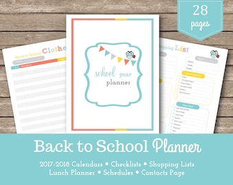 2018 Back to School Planner / School Planner / School Checklists /  Shopping Lists / School Supplies /  Printable Schedules and Routines