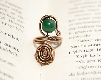 Wire wrapped ring, copper ring, jade ring, adjustable wire wrapped copper ring, wire wrapped jewelry handmade ring, copper jewelry
