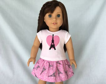 Pink Paris Eiffel Tower T-Shirt and Pink Print Skirt for American Girl/18 Inch Doll
