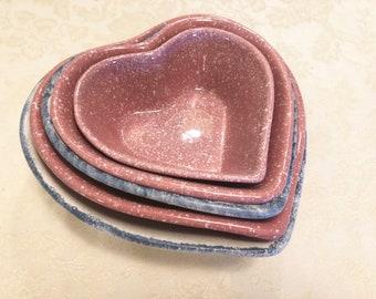 Pink And Blue Mix Matched Pottery Nesting Bowls Serving Heart Bowls Nesting Bowls Kitchen Ceramic Pottery Speckled Glaze. Set Of 5