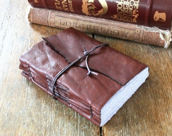 """Leather Journal . """"How could you live and have no story to tell?"""" Fyodor Dostoevsky . handbound handmade . dark whiskey brown (320 pgs)"""