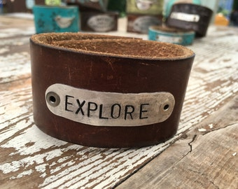 Stamped Leather Cuff-Explore-Word Cuff-