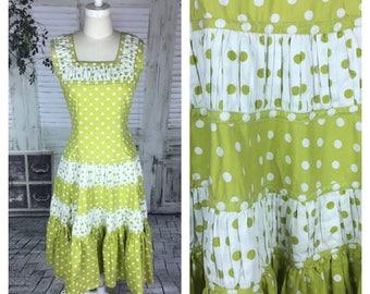 Original Vintage 1950's Green Chartreuse Polkadot Dress