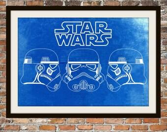 Star Wars Stormtrooper -  Blueprint Art of Stormtrooper 3 Views Technical Drawings Engineering Drawings Patent Blue Print Art Item 0095