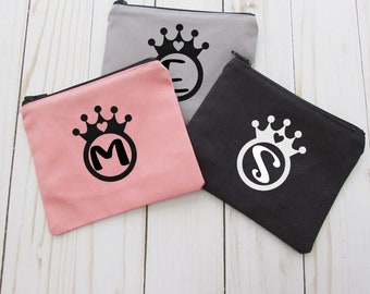 Coin Purse - Monogram Initial - Small Make up Bag - Change Purse - Small Credit Card Wallet - Zip Money Bag - CP33