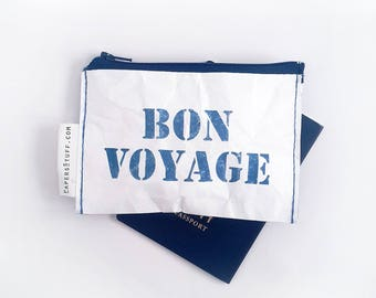 bon voyage, coin purse, gift idea, fashion accessories, ecofriendly purse, zipper wallet, gift for traveler, washable paper, everything case