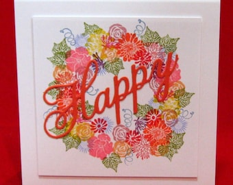 Greeting Card, Happy, Floral, Cheerful, Birthday, Occasion, Blank Inside (#25)