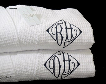 Monogram Robes, Personalized Robes, Cotton Anniversary Gift, Monogram Bathrobe, Cotton Spa Robe, jfyBride, Set of 2 Robes