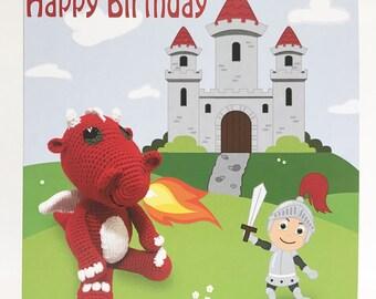 Crochet Dragon Birthday Card