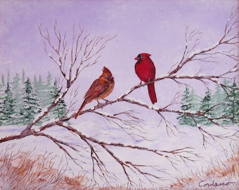 WINTER CARDINALS, Original acrylic on canvas painting by American artist James Cordasco