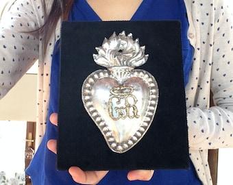 Antique Silver Italian Ex voto Votive Heart on velvet panel