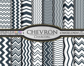 Charcoal Gray Chevron Digital Paper Pack - Instant Download - Chevron Paper for Digital Scrapbooking