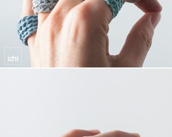 Crohet Wrap Ring. Antialergic ring. Antialergic Jewelry. Blue Tones. Crocheted Ring.Eco-Friendly Ring.Wool Ring.Boho Jewelry.Bridesmaid gift