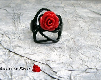 black and red rose 7 ring