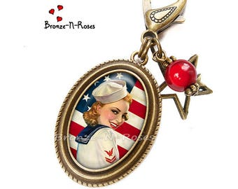 """Bag charm """"I love America"""" red flag United States pin-up glass cabochon"""