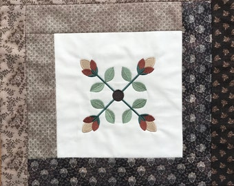 Quilted Patchwork Embroidered Mat Primitive Colonial