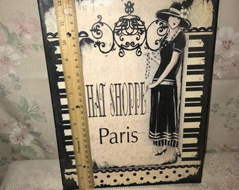 Paris Hat Shop Boutique Fashion Vintage Style Metal Decorative Sign