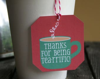 Gift tag for tea // Christmas tea gift // tea party favor // Holiday tea gift // Holiday volunteer gift