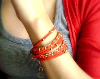 Wrap bohemian bracelet - Power -  Intense red double wrap eco suede gold boho trendy boho bracelet