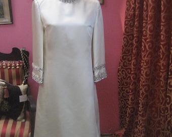 "1960's, 36"" bust, white satin dress"