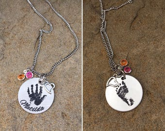 Fingerprint or Thumprint Heart Necklace with Name - Laser Engraved