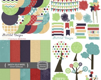 Digital Kit Clip Art Paper Tree Washi Tape Journal Spot Commercial Use Instant Download Smooth