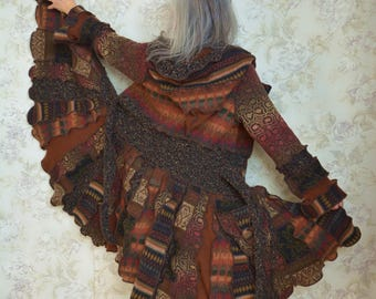 Sarabande, Katwise inspired upcycled sweater coat, Recycled fashion, Winter sweater coat, One of a kind Medium