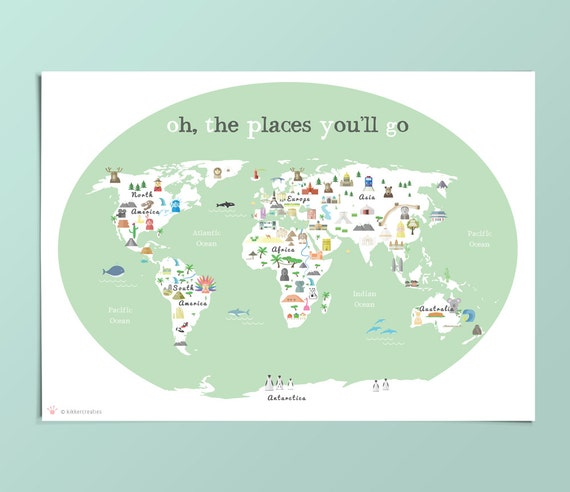 Printable kids green world map poster 11x14 in 20x16in printable kids green world map poster 11x14 in 20x16in 24x36in nursery poster educational poster baby room map baby gift baby shower gumiabroncs Image collections