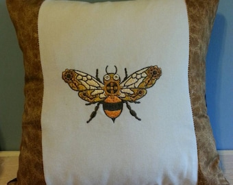 steampunk pillow cover embroidered steampunk bee with gears handmade throw pillow