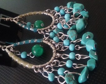 Turquoise Beaded Earrings, Beaded Hoop Earrings, Beaded Jewelry, Turquoise Beadwork