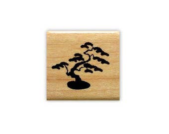 BONSAI Tree mounted Japanese rubber stamp, oriental, Sweet Grass Stamps No.12