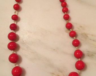 Vintage hand knotted red glass bead necklace