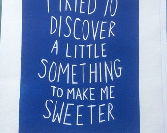 Erasure lyrics hand pulled linocut in blue