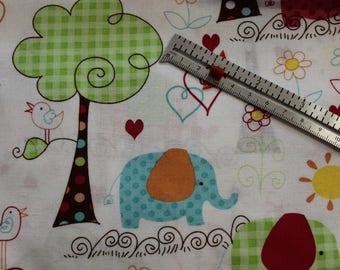 "Nursery Elephants Birds Trees   100% cotton fabric 42-44"" wide"