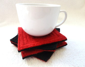 Coasters Felted Sweater Wool RED & BLACK Coaster Set of 4 Upcycled Mug Rugs Red Wool Coasters Eco Housewarming Gift by WormeWoole