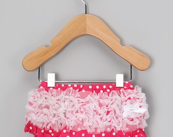 Pink with white dots and ruffle bloomers