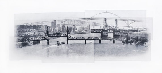 Portland Fine Art - Original Art - Photographic Etching - Print - Photography - Oregon - Photogravure - Photo Collage - Skyline - bridges