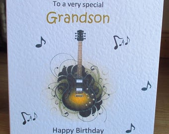Personalised Handmade Electric Guitar Music Notes Birthday Card Any Relation