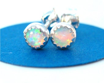 Small Lab Opal Stud Earrings, 4mm round