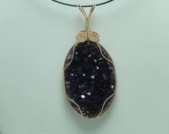 Amethyst crystal wire wrap pendant
