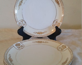 saucer set by noritake with gold accent/noritake saucer/gold accent saucer/vintage saucers/noritake moriage/white and gold saucers