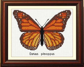 Danaida Monarch butterfly cross stitch pattern red butterfly cross stitch orange butterfly cross stitch brown butterfly cross stitch