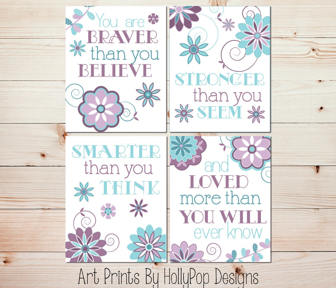 Girl Nursery Prints Purple Aqua Teal Baby Girl Decor You are