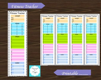 Sidebar Fitness Exercise Water Steps Sleep Weight Wellness Tracker Erin Condren Planner Printable Instant Download #P018