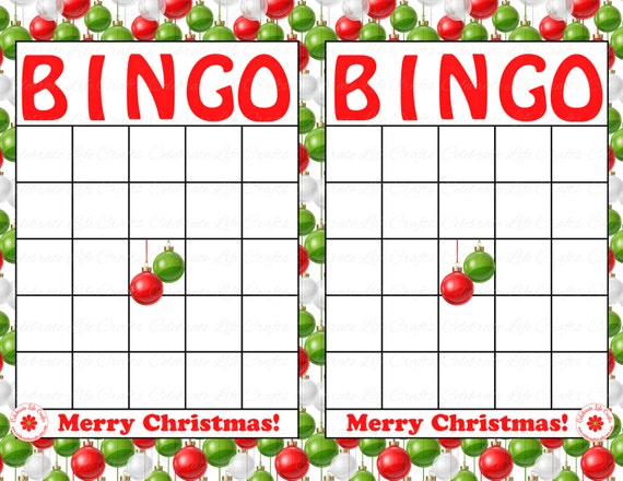 items similar to blank merry christmas holiday bingo cards diy printable game christmas party instant download red green ornaments bingo ch004 on