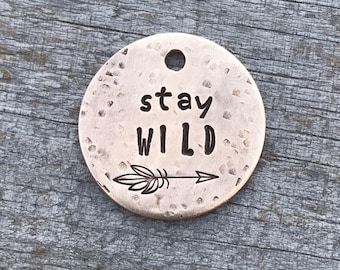 Dog Tags, Dog Tags for Dogs, Dog Tag, Stay Wild, Personalized Dog Tag, Pet Id Tag, Custom Dog Tag, Pet Supplies, Hand Stamped Dog Tag