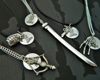 Zombie Necklace, Weapon Necklace, Zombie Apocalypse Jewellery, Horror Necklace, Goth Jewelry, Mens Necklace, Mens Jewellery, Undead Gift