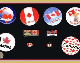 10 Canada pins / pinback buttons / pinbacks