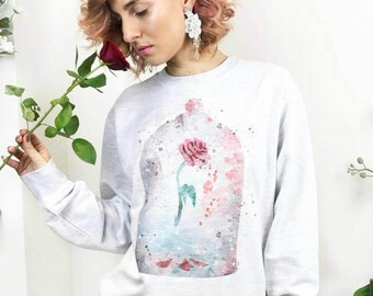 Beauty and the Beast Sweater Red Rose Sweater Cute Sweater Fairytale Top Belle Enchanted Rose Cute Womens Clothing